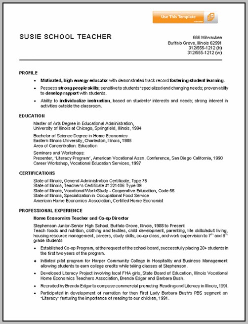 Resume Templates For Teacher Job