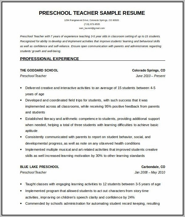 Resume Templates For Teachers Microsoft Word 2007
