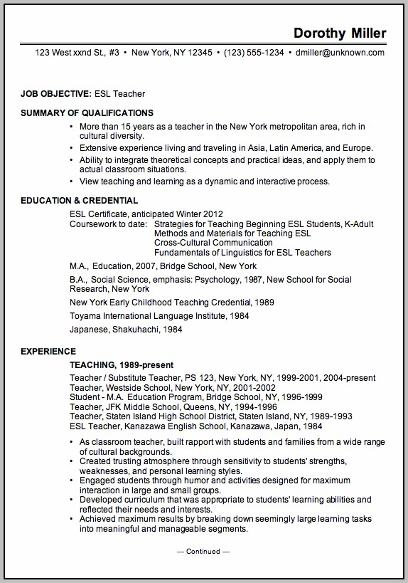 Resume Templates For Teaching English