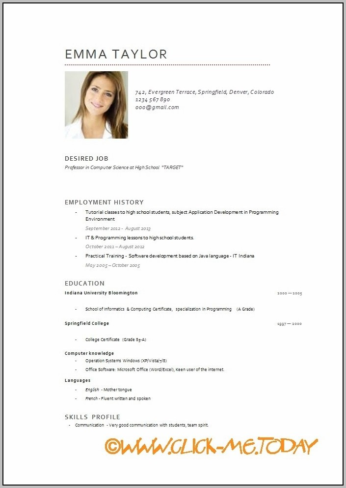 Resume Templates Free Download English