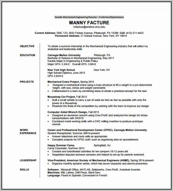 Resume Templates Free Download Pdf