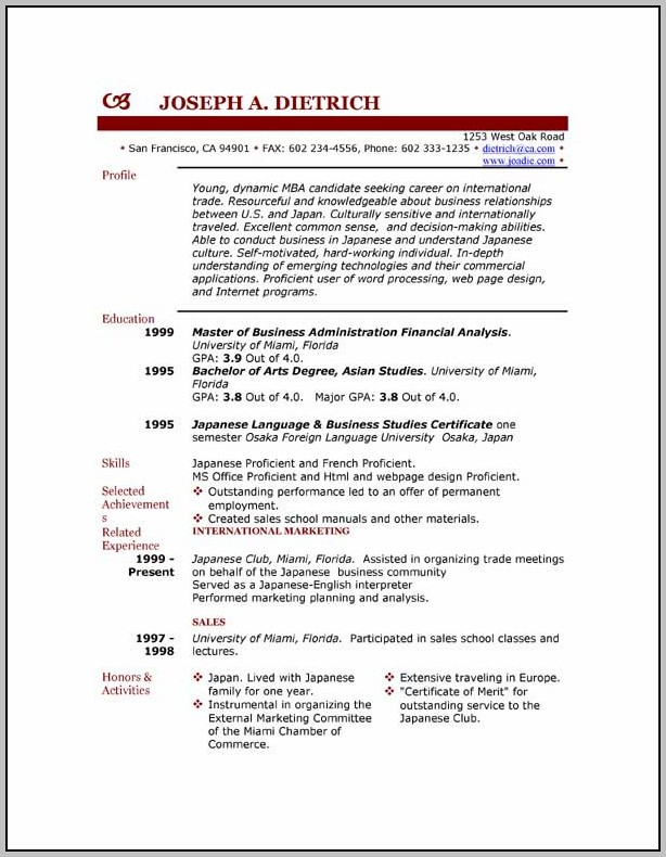 Resume Templates Free No Download