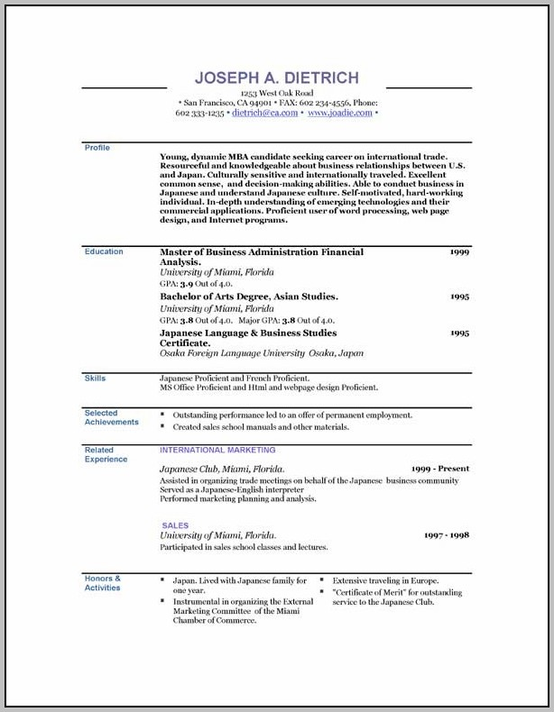 Resume Templates Free To Download