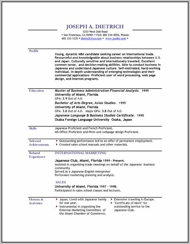 Resume Templates In Word Format Free Download