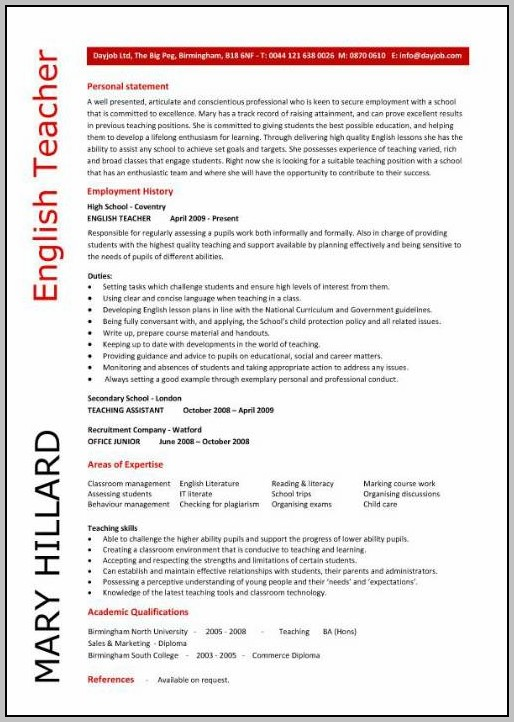 Resumes For English Teachers Sample