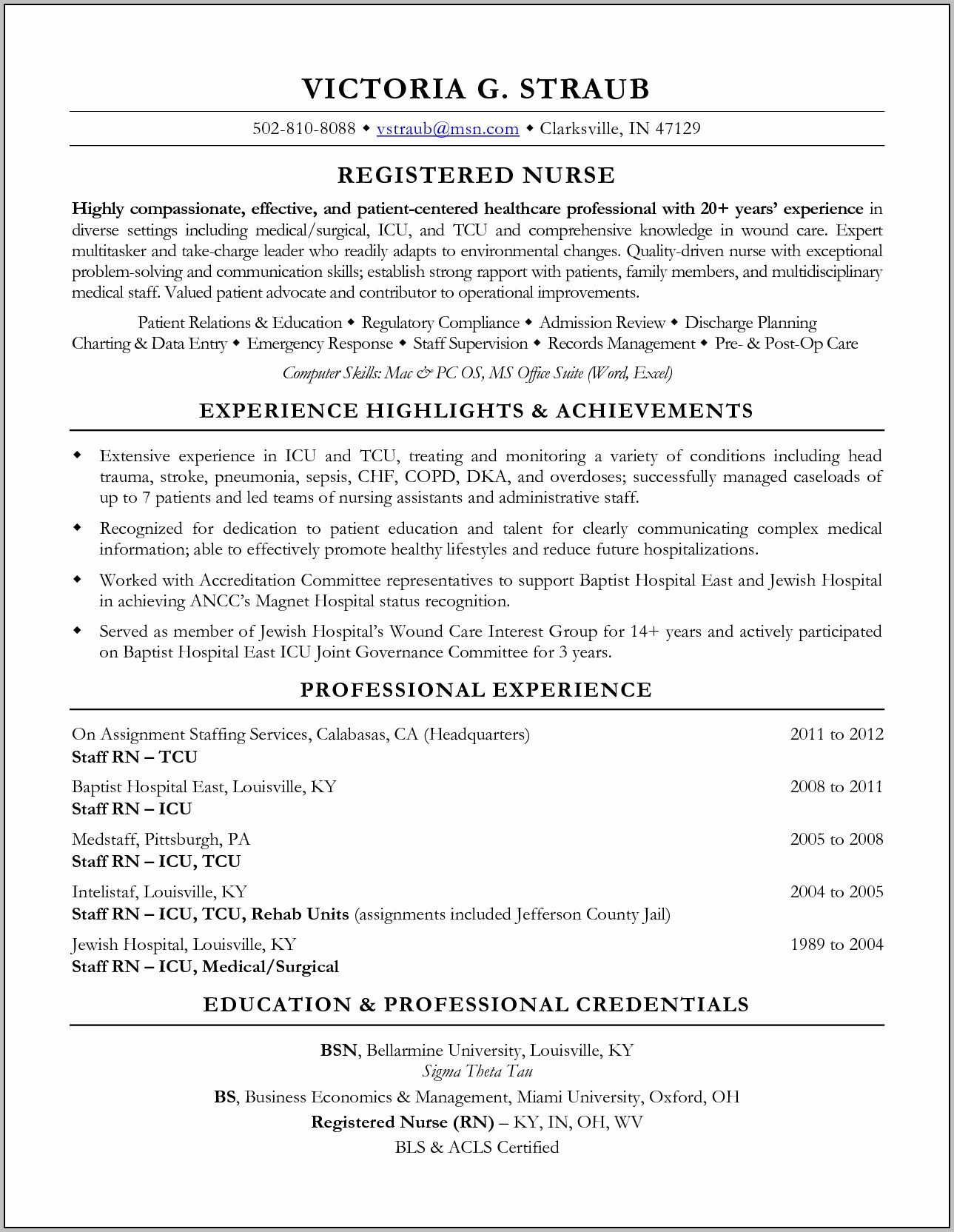 Rn Resume For Medical Surgical Position Objective Examples