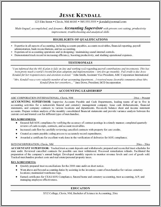 Sample Professional Resume For Cost Accountant