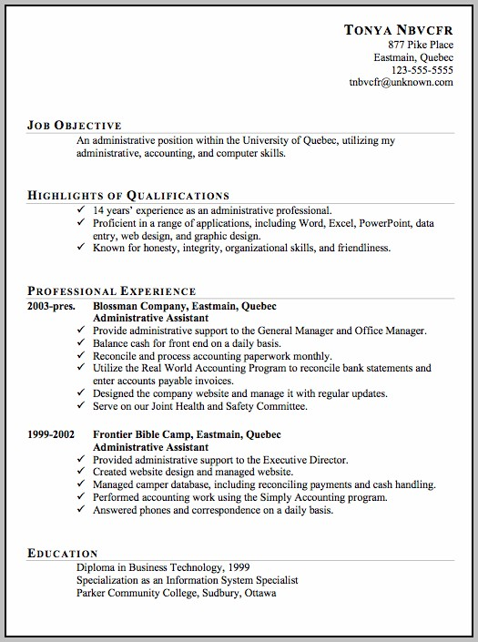 Sample Resume For Administrative Assistant Canada