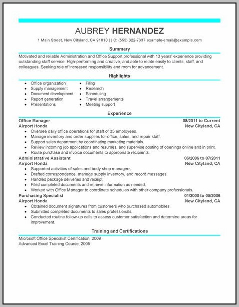 Sample Resume For Administrative Assistant Customer Service
