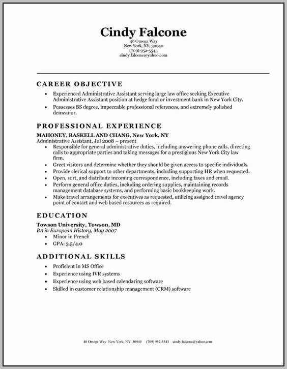 Sample Resume For Administrative Assistant Entry Level