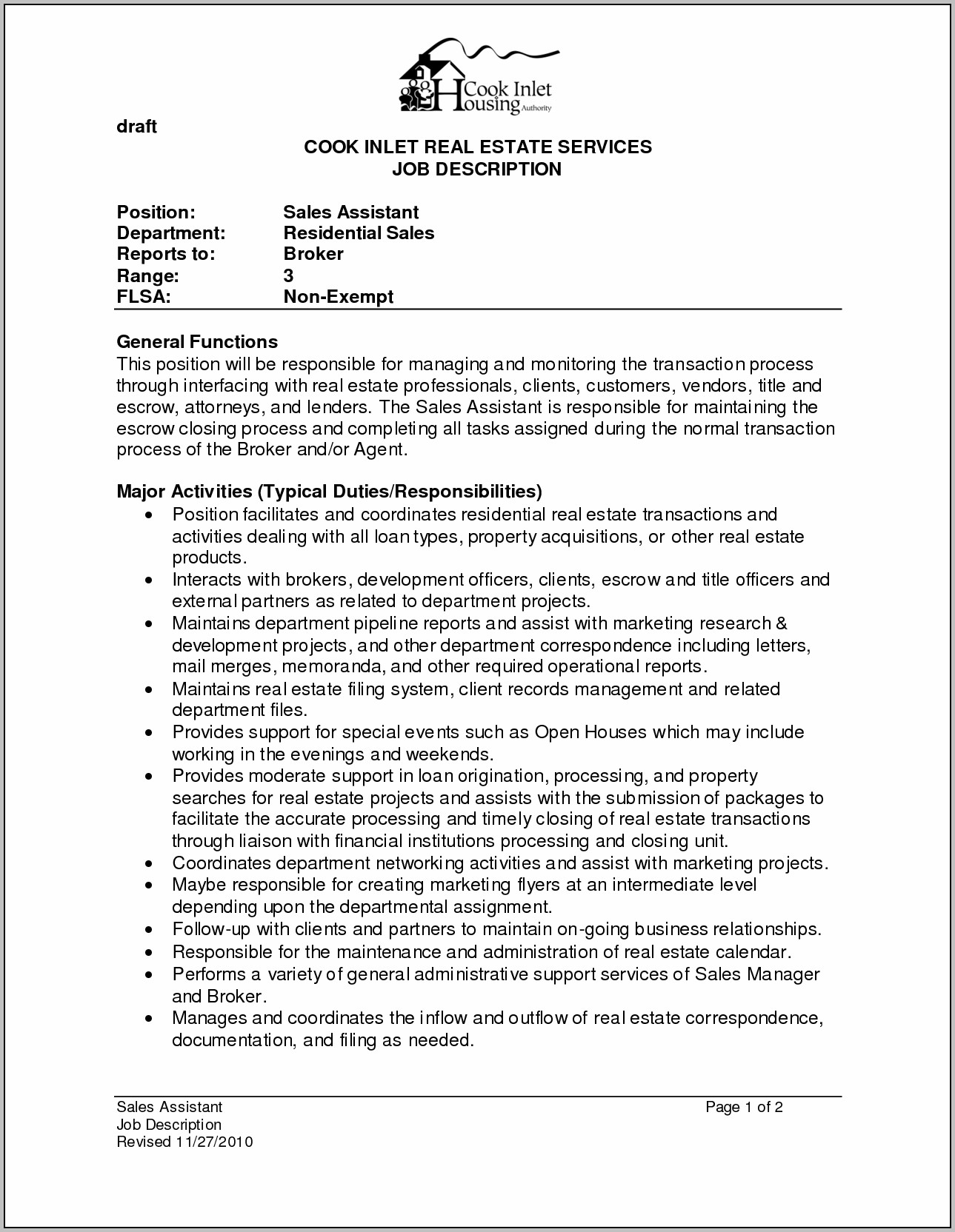 Sample Resume For Administrative Assistant In Real Estate