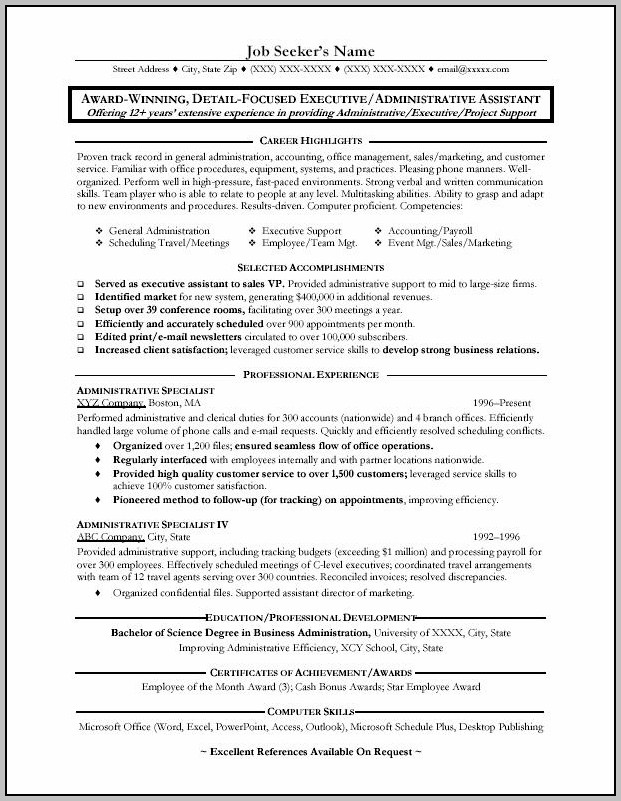 Sample Resume For Administrative Assistant In School