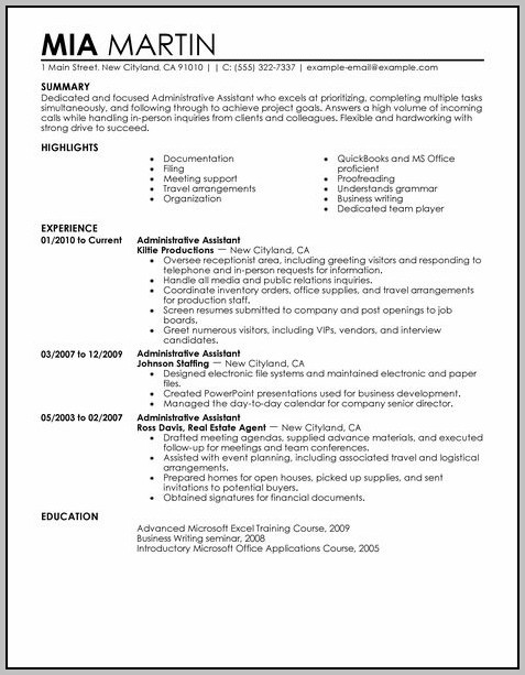 Sample Resume For Administrative Support Assistant