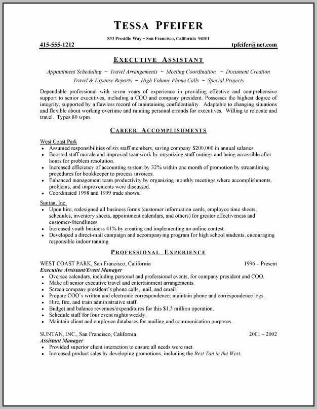 Sample Resume For Executive Assistant To Cfo
