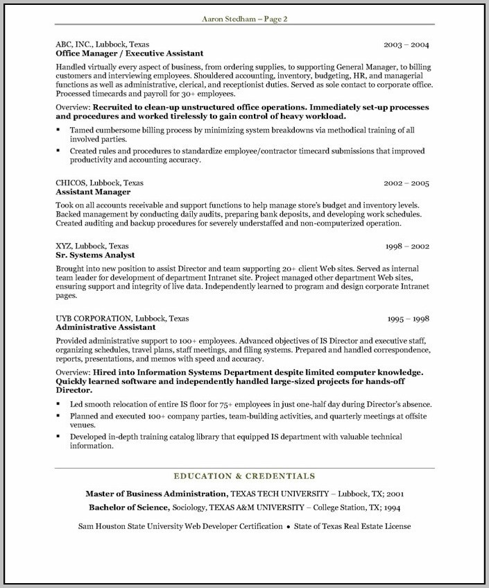 Sample Resumes For Executive Assistant To Ceo