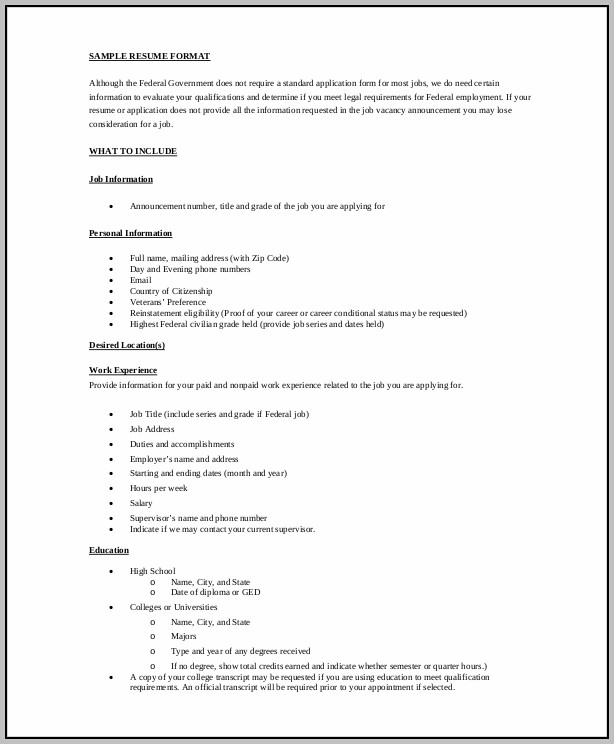 Simple Resume Format Pdf Download