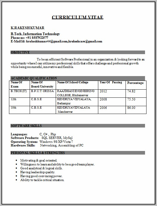 Software Engineer Resume New Format For Freshers