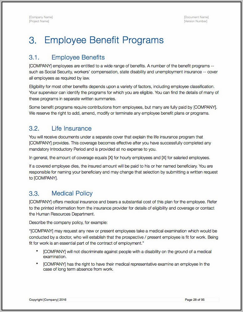 Us Employee Handbook Template