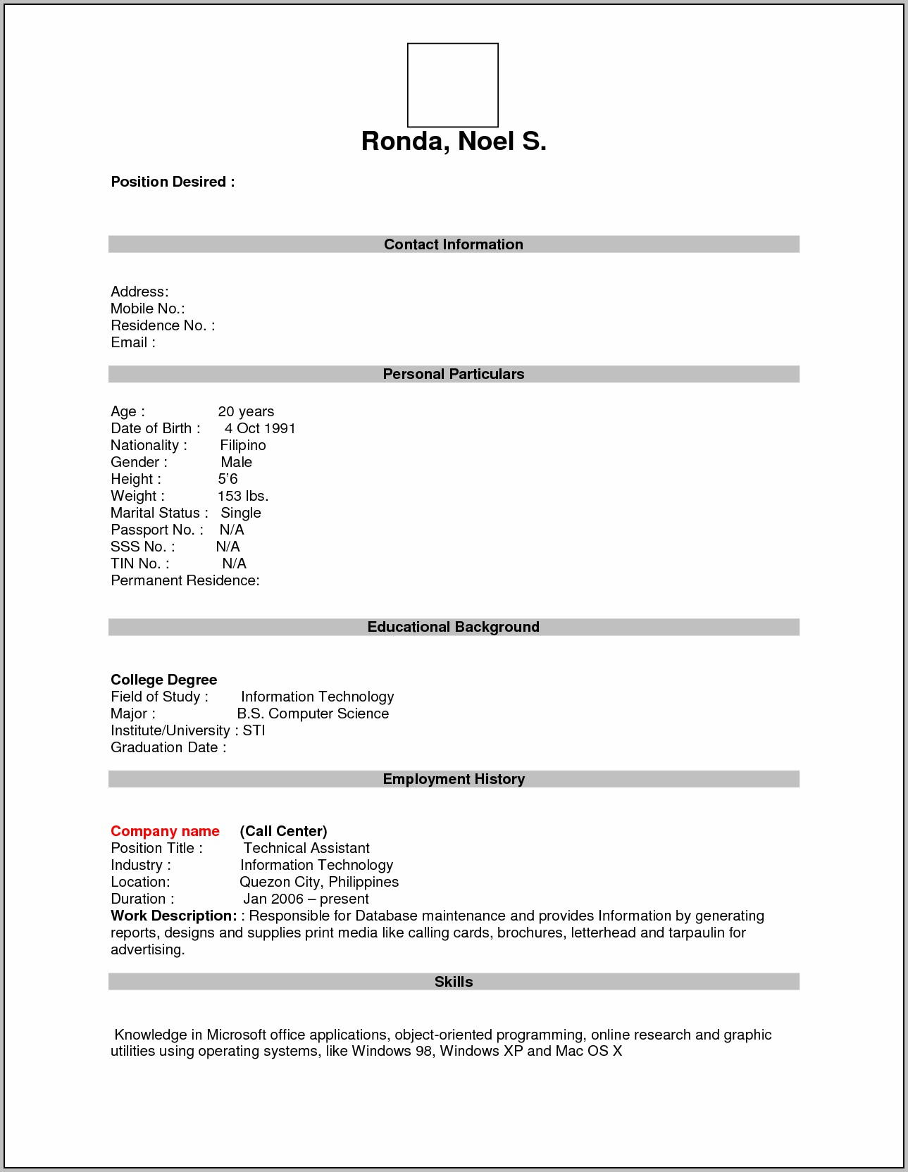 Write Free Resume Blank Form