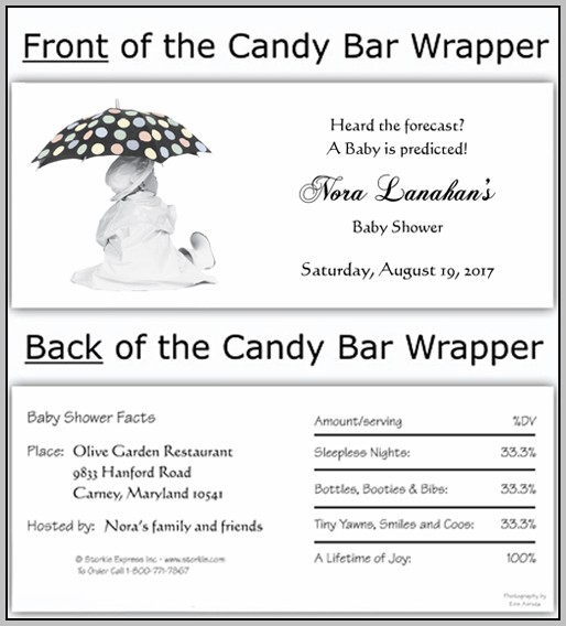 Baby Shower Candy Wrapper Template