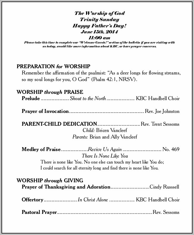 Baptist Church Bulletin