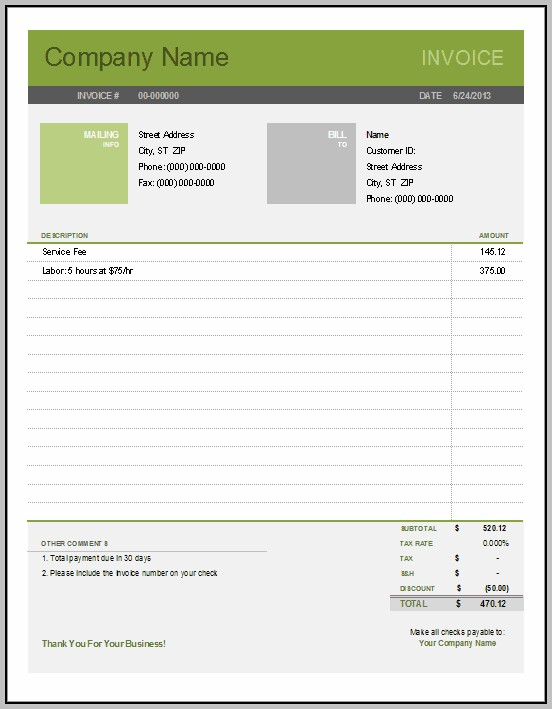 Billing Invoices Free Printable