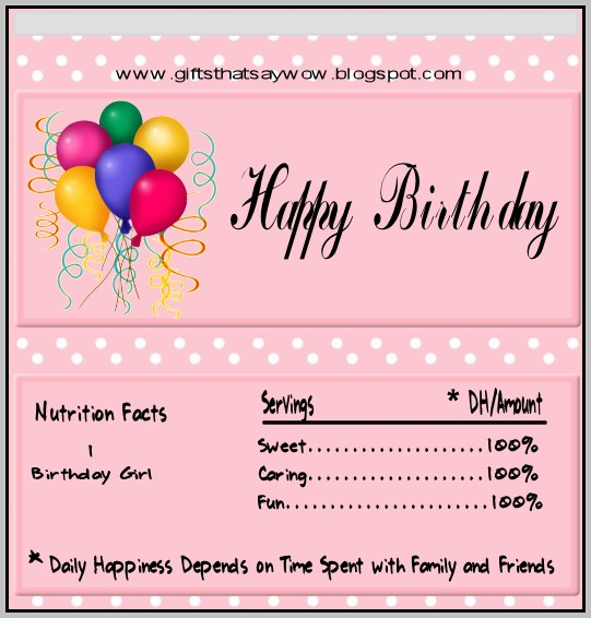 Birthday Candy Wrapper Template