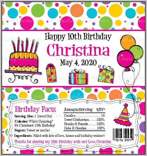 Birthday Candy Wrappers Free
