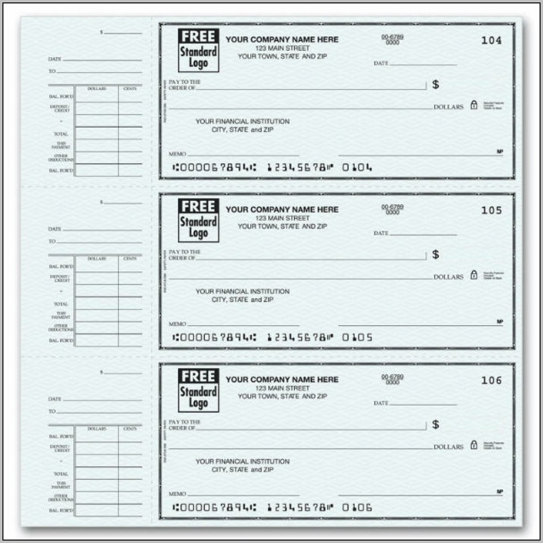 Blank Pay Stubs Print