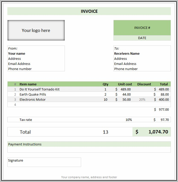 Business Invoice Template Excel