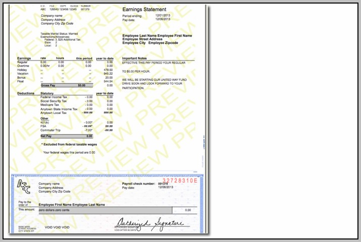 Create Check Stubs Template