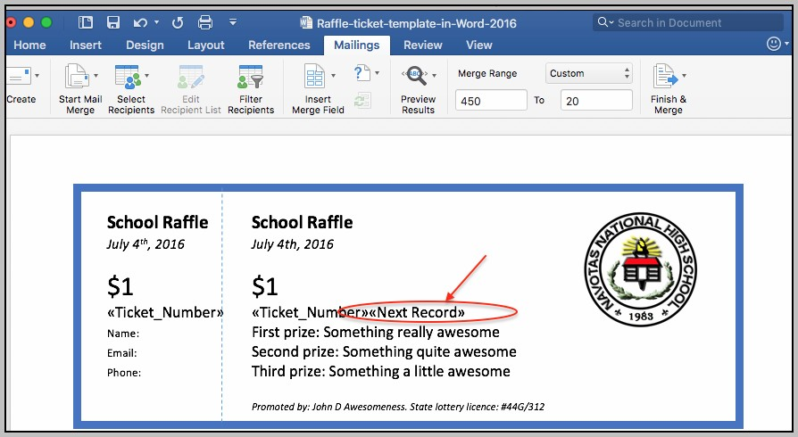 Create Tickets In Word