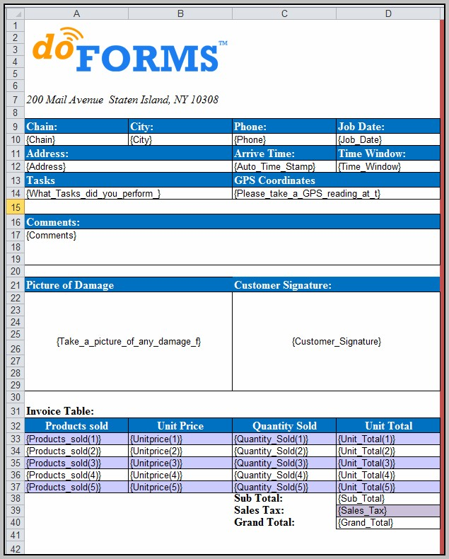 Data Template Excel