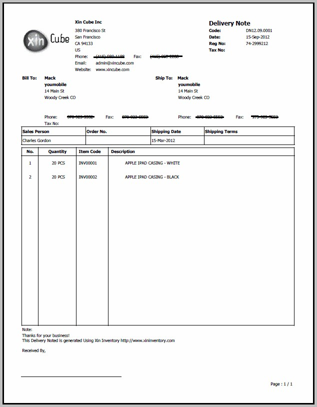 Delivery Order Template Excel