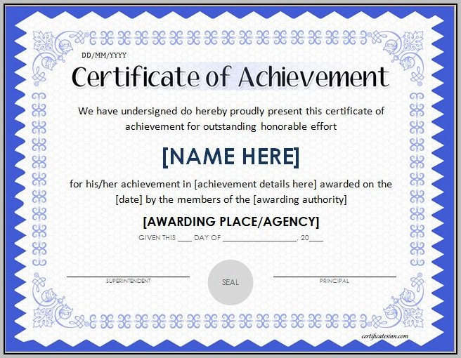 Academic Certificate Template Word