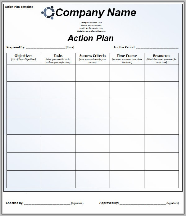 Action Plan Template Word