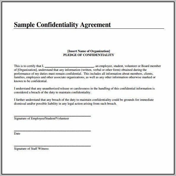 Agreement Not To Disclose Confidential Information