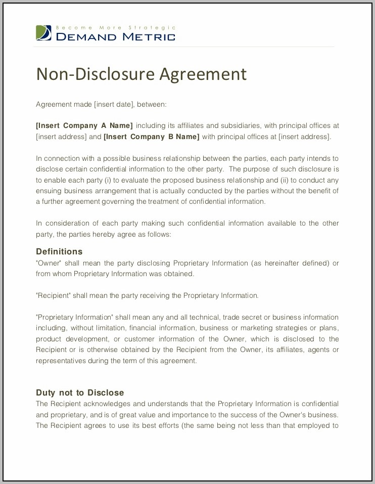 Agreement To Not Disclose Information