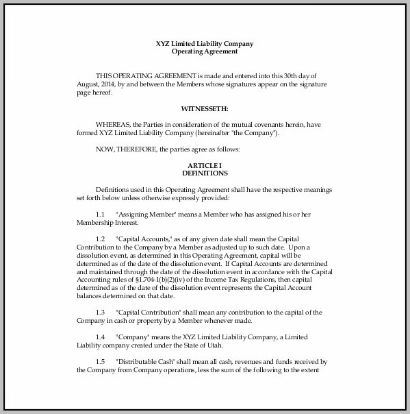 Amendment To Operating Agreement Template