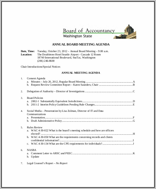 Annual Board Meeting Agenda
