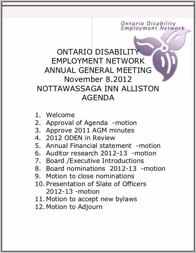 Annual General Meeting Agenda Nonprofit