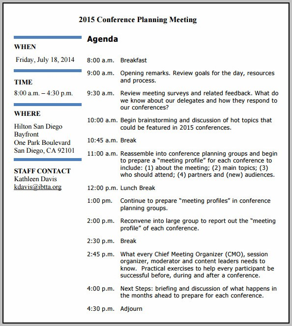 Annual Planning Meeting Agenda Template