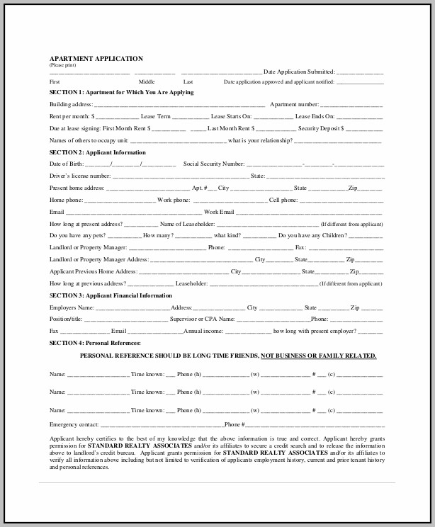 Apartment Lease Application Form