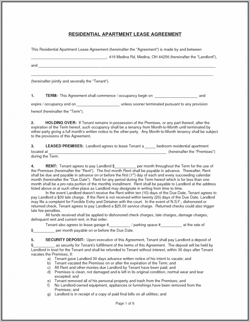 Apartment Lease Document