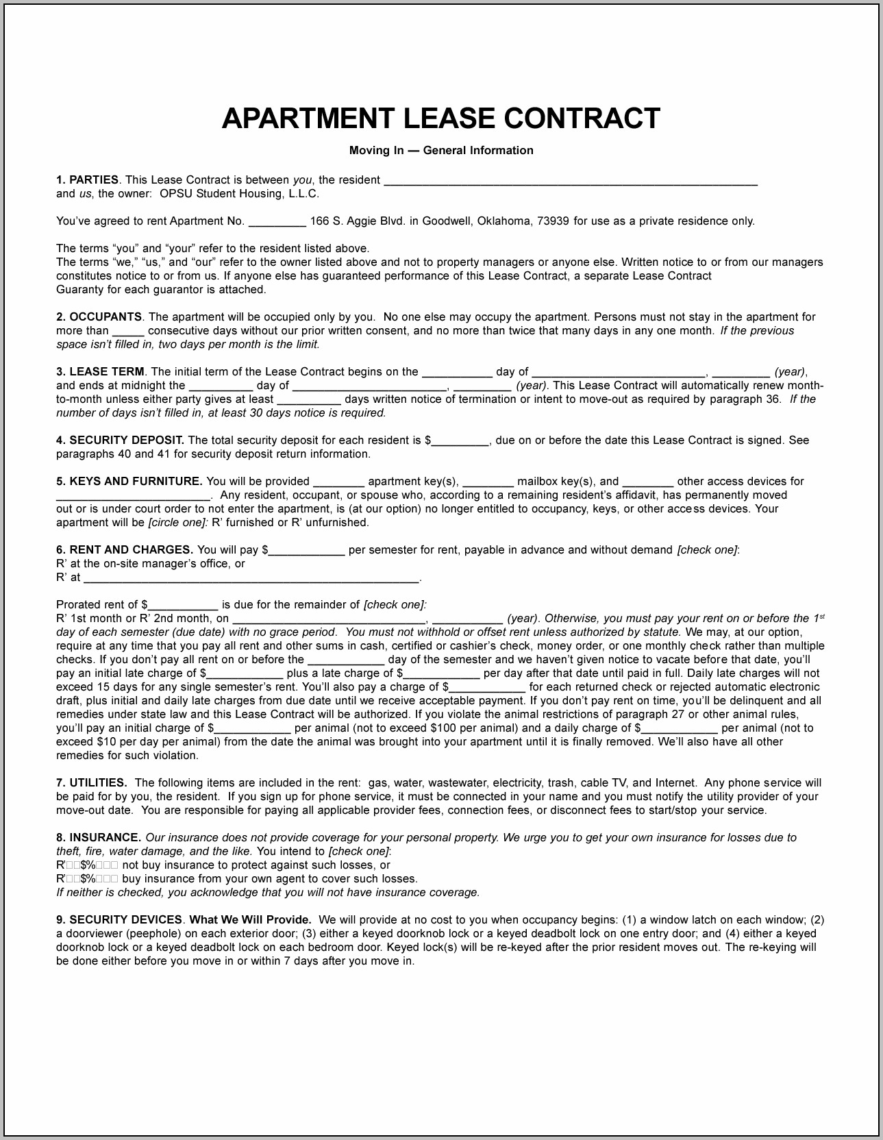 Apartment Lease Pdf