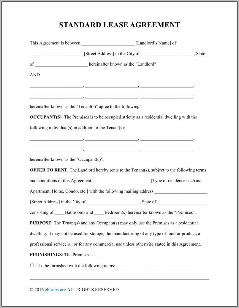 Apartment Rent Contract Form