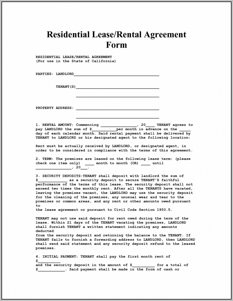 Apartment Rental Contract Template Free