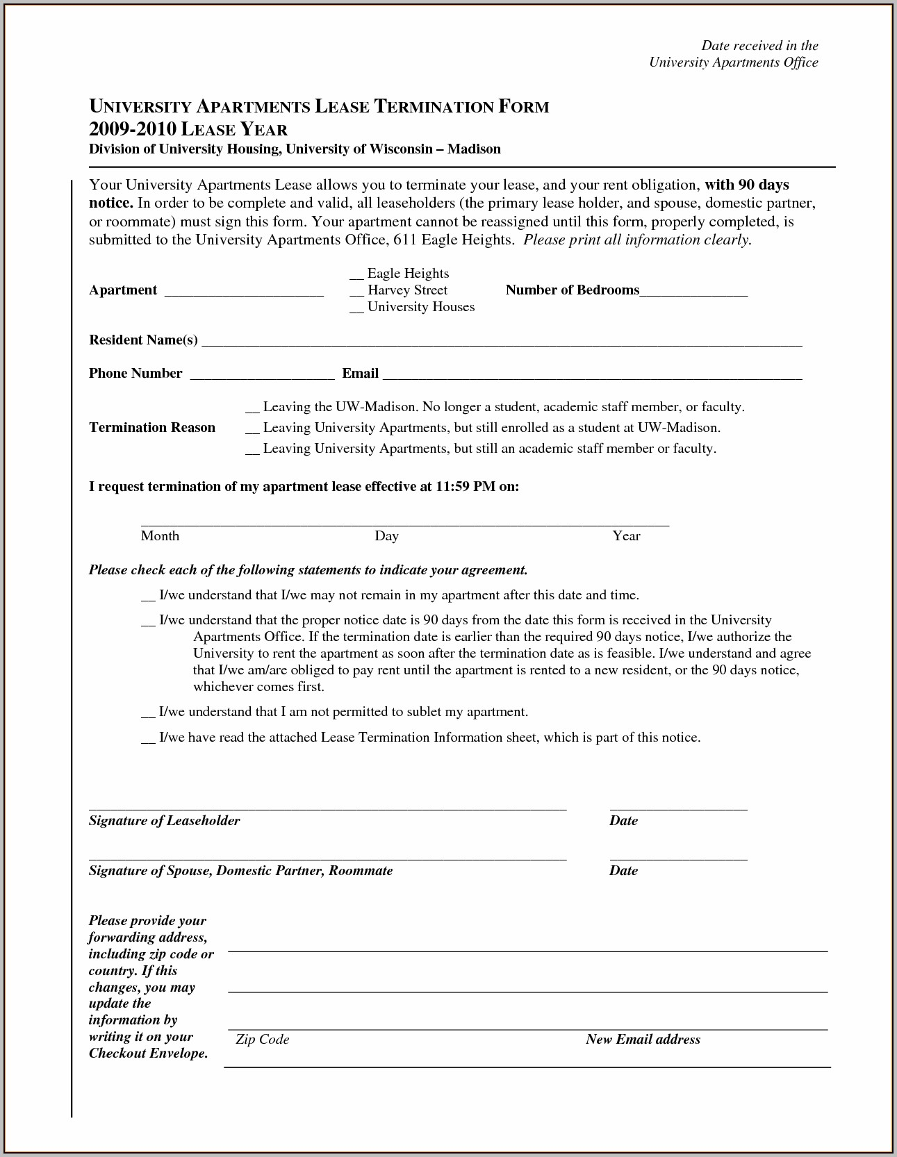 Apartment Rental Form Template