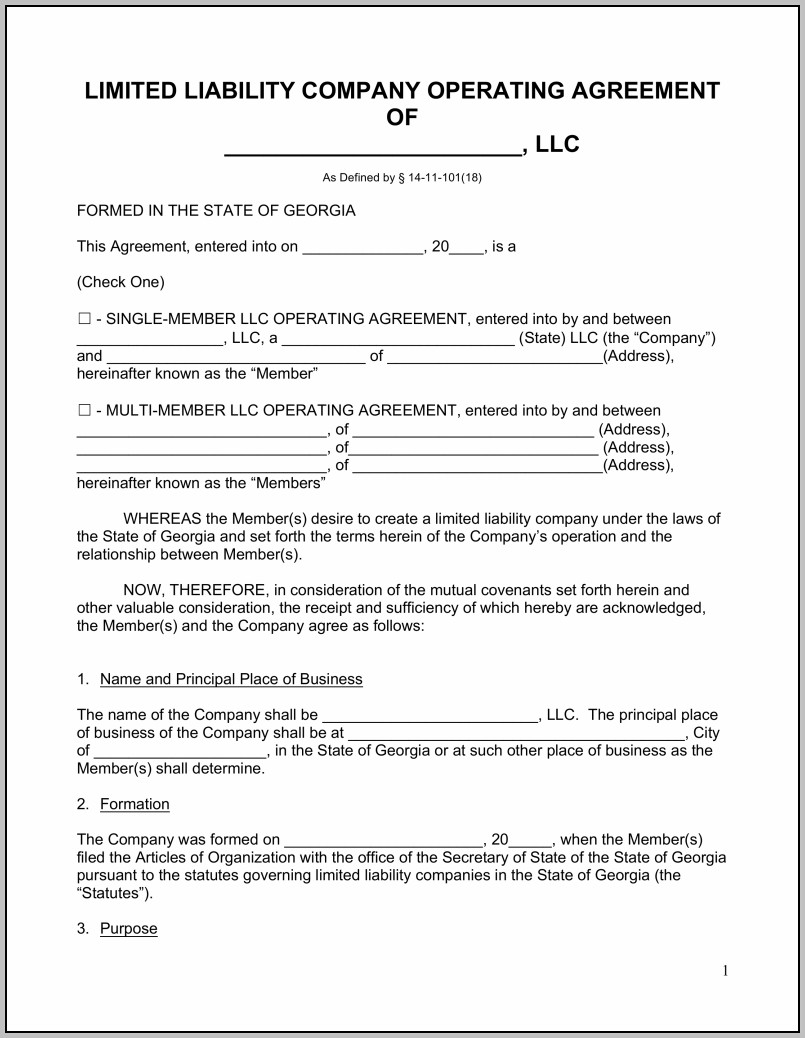 Articles Of Operation Llc Sample