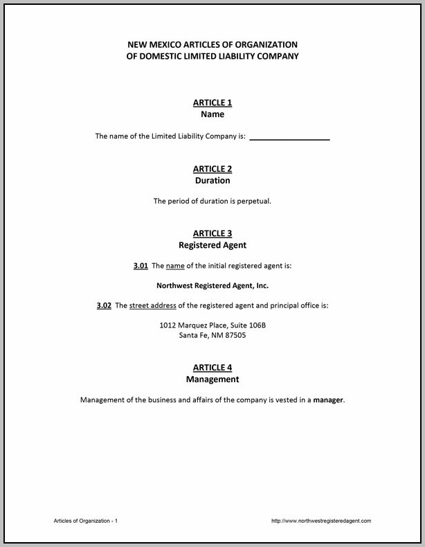 Articles Of Organization Llc Template